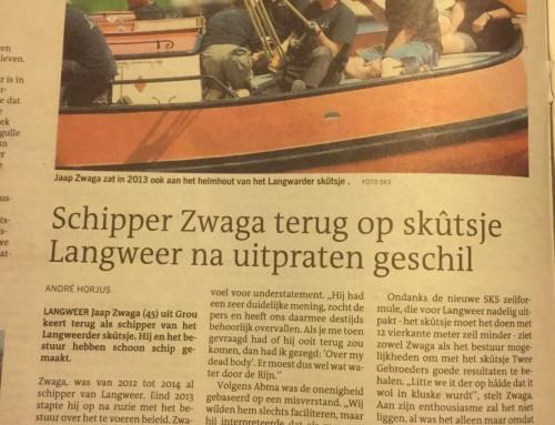 Schipper Zwaga terug op skûtsje Langweer